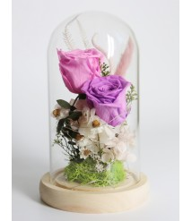 PRESERVED PURPLE ROSE WITH LED GLASS DOME 04