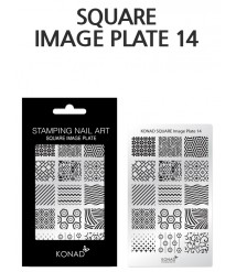 Square image plate 14- KONAD Nail Stamping Design template DIY Nail Art High-end quality stainless Steel Image plate