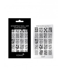Square image plate 11- KONAD Nail Stamping Design template DIY Nail Art High-end quality stainless Steel Image plate